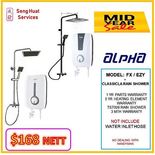 ALPHA FX/EZY SERIES Instant Heater+ CLASSICAL Rain Shower MID YEAR SLAE