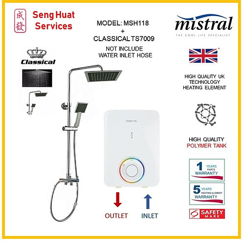 Mistral MSH118 Heater + CLASSICAL Rain shower ( SERVICES OPTION TO SELECT )