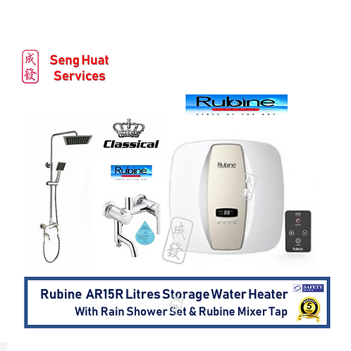 Rubine AR15R 15 Litres Storage Heater With Rain Shower Set And Rubine Mixer