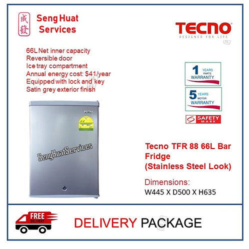 Tecno TFR 88 66L Bar Fridge (Stainless Steel Look) COD