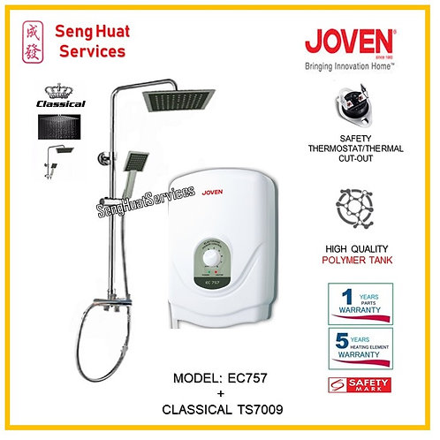 Joven EC757 Instant Heater + Classical Rain Shower ( SERVICES OPTION TO SELECT)