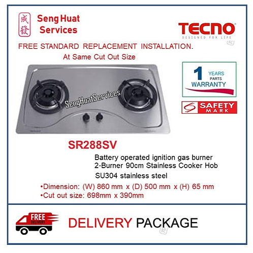 Tecno SR288SV 90Cm 2 Burner Stainless Hob With Safety Valve
