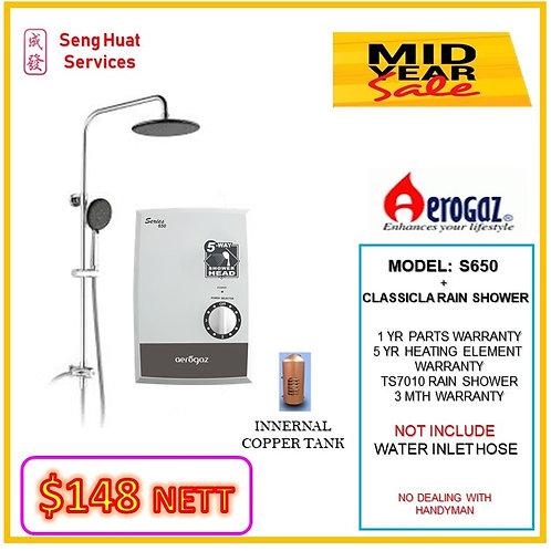 Aerogaz S650 Instant heater + CLASSICLARain Shower MID YEAR SALE