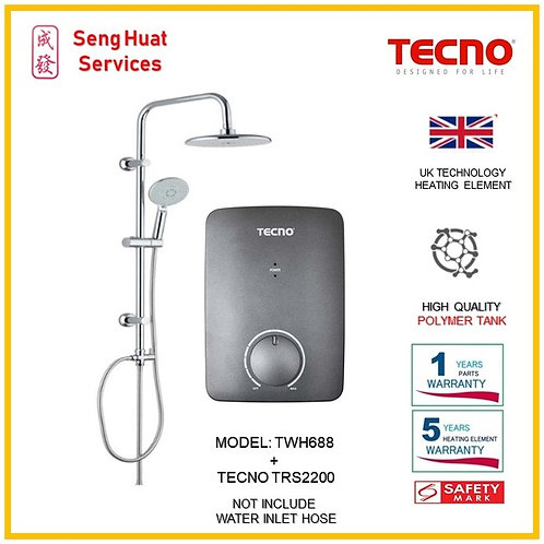 TECNO TWH688 Instant  Heater+TECNO Rain Shower ( SERVICES OPTION TO SELECT)
