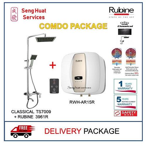 Rubine AR15R 15 15L Storage Heater + Rain Shower Set With Mixer Tap DELI