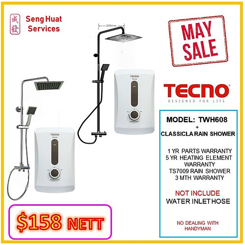 TECNO TWH608  Heater+CLASSICLA  Rain Shower MAY SALE