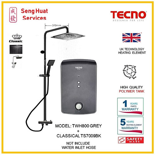 TECNO TWH800  Heater+CLASSICLA BLACK Rain Shower ( SERVICES OPTION TO SELECT)