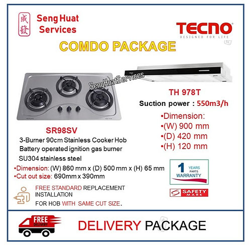 Tecno SR98SV 3 Burner Stainless Hob +TH 978T Slim Line Cooker Hood COD