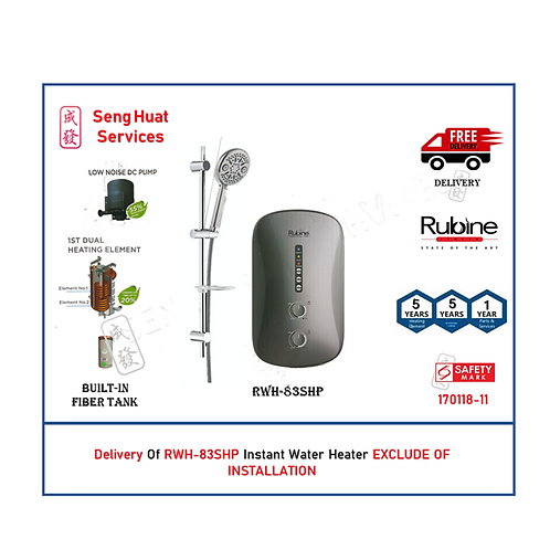 Rubine RWH-83 SHP Instant Water Heater NO RAIN SHOWER With Delivery