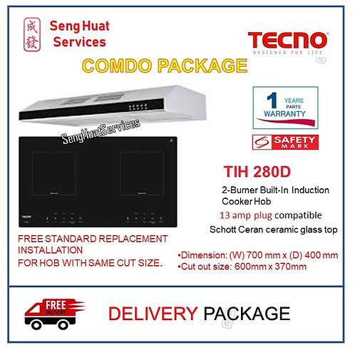TECNO  TIH 280D 2-Burner Built-In Induction Hob + TCH901SS HOOD