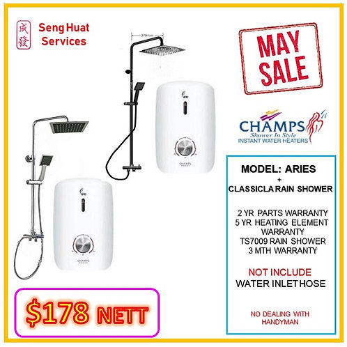 CHAMPS ARIES Instant heater + TS7009BK Rain Shower MAY SALE