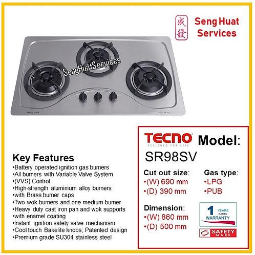 Tecno SR98SV 90Cm 3 Burner Stainless Hob With Safety Valve