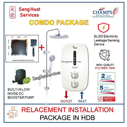 Champs Legend WH Instant Heater + SQUARE Rain Shower REPLACE COD