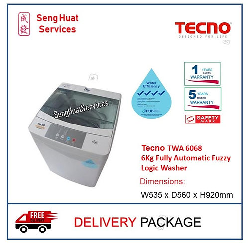 Tecno TWA 6068 6Kg Fully Automatic Fuzzy Logic Washer DELIVERYY