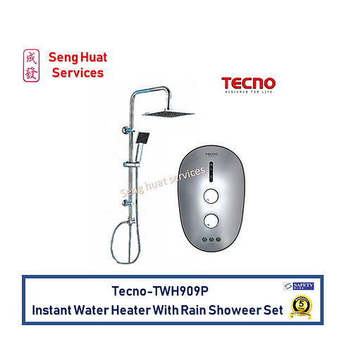 Tecno TWH909P Silver instant water heater with Rain Shower set FOC Delivery