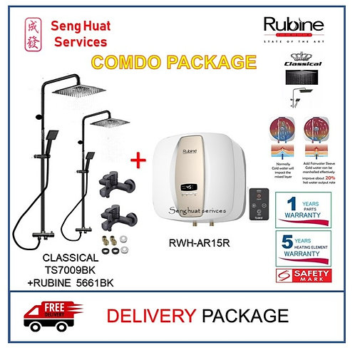 Rubine AR15R 15 15L Storage Heater + BLACK Rain Shower + Mixer Tap DELIVERY