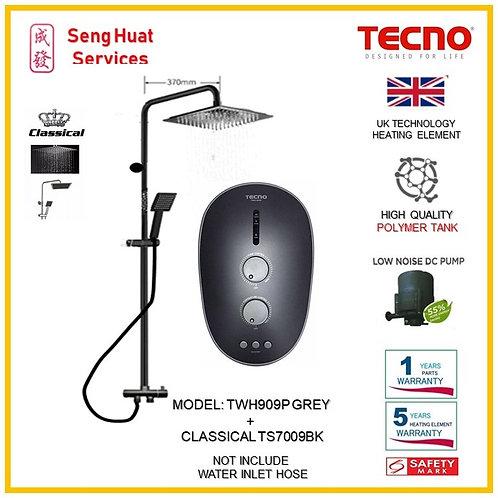 Tecno TWH909P Heater + CLASSICLA BLACK Rain Shower ( SERVICES OPTION TO SELECT)