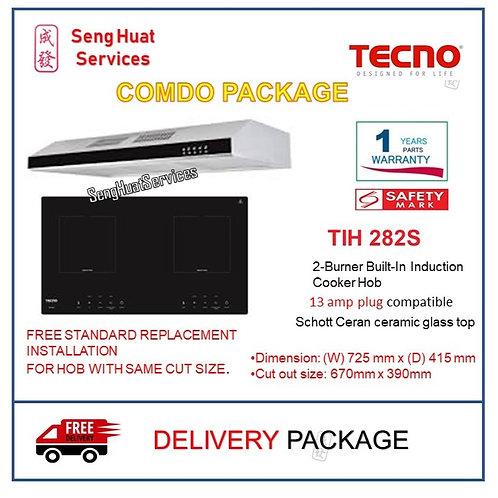 TECNO  TIH282S 2-Burner Built-In Induction Hob + TCH901SS HOOD COD