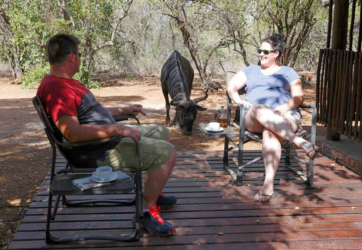 Two guests and a Wildebeest at Tusk Bush Lodge