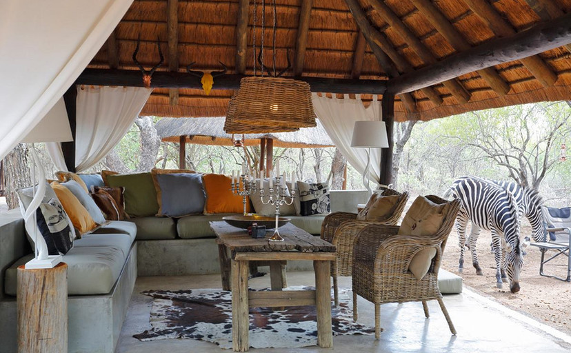 Tusk Bush Lodge guest relaxation lounge area