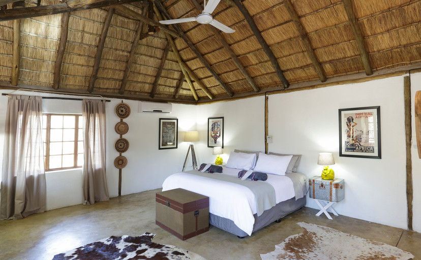 Bungalow one open shot of bed area
