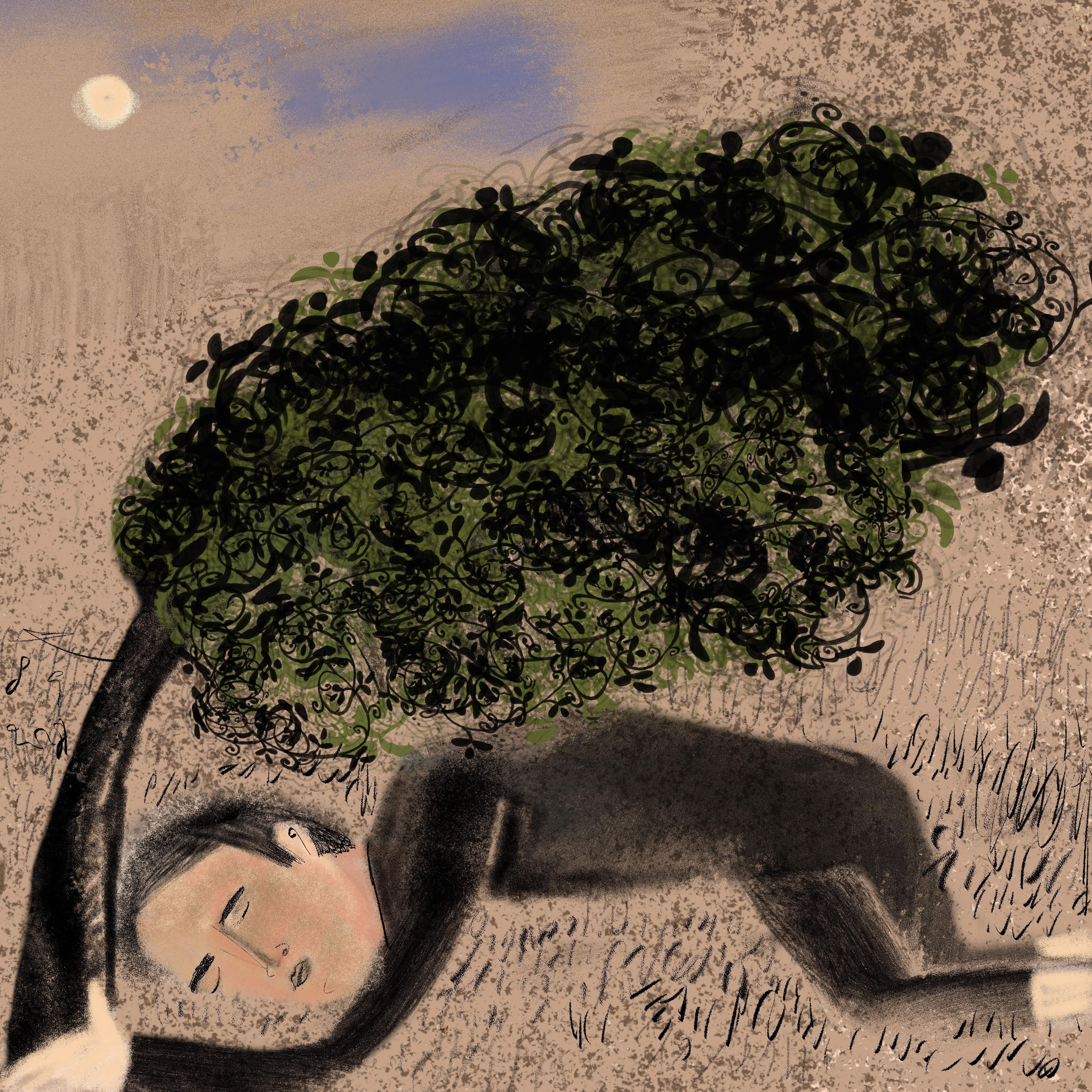 in slaap gevallen onder een oude treurwi