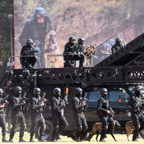 India's National Security Guard highlight their MARS ETS during the 33rd Raising Day Celebrations