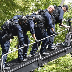 Metro Nashville Police SWAT's MARS ETS used to bring down protester from 20ft tall tripod