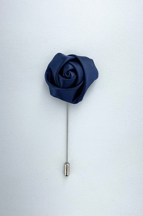 Navy Liquid Rosebud Lapel Pin