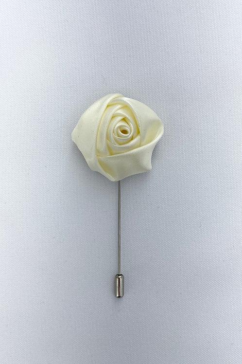 White Liquid Rosebud Lapel Pin