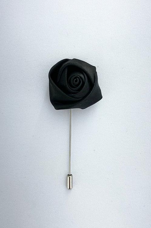 Black Liquid Rosebud Lapel Pin
