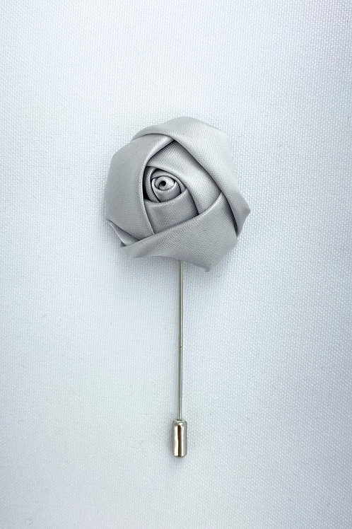 Grey Liquid Rosebud Lapel Pin