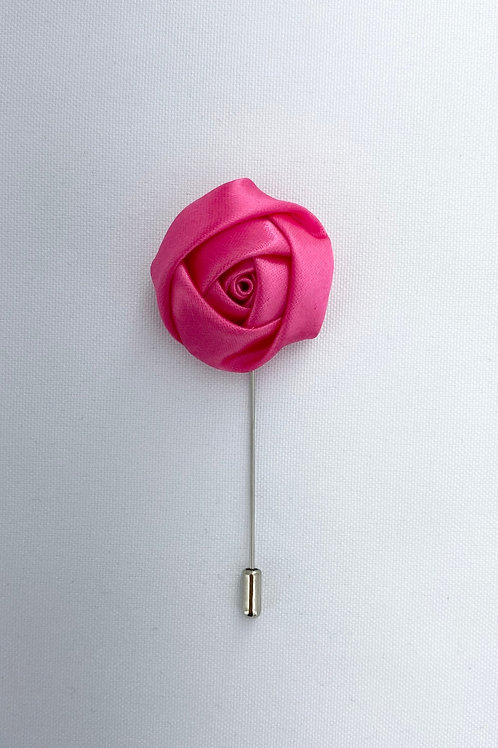 Deep Pink Liquid Rosebud Lapel Pin