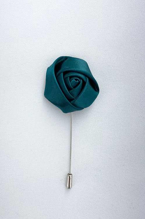 Teal Liquid Rosebud Lapel Pin