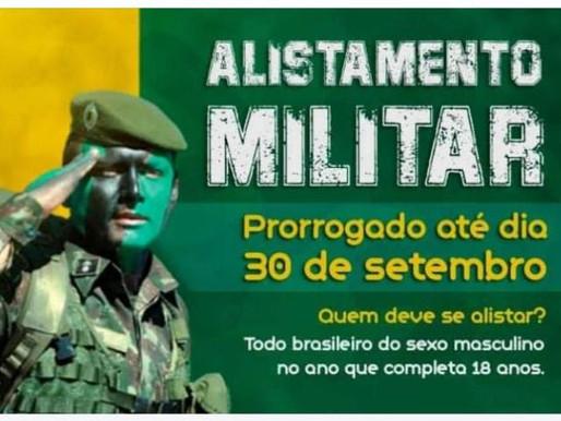 Alistamento Militar prorrogado até o  dia 30 de setembro