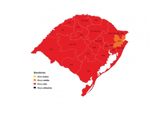 Mapa preliminar  do Distanciamento Controlado coloca Guaíba na bandeira vermelha