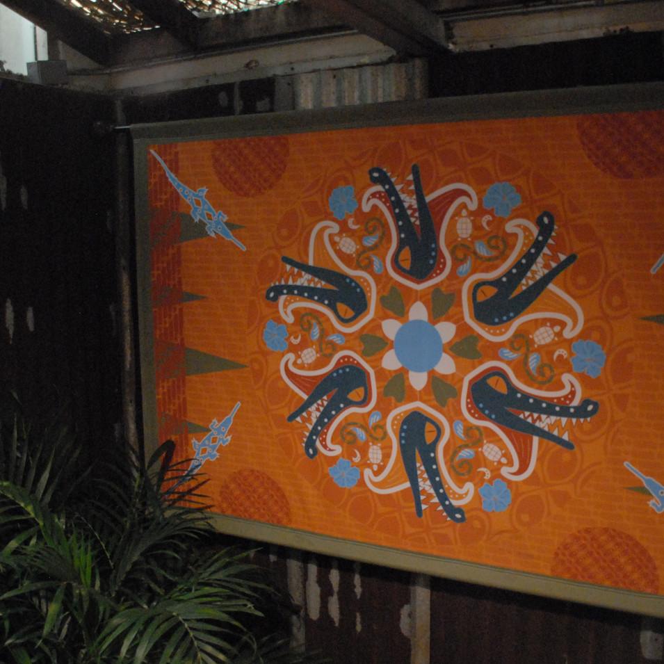 Lobby tapestry installed