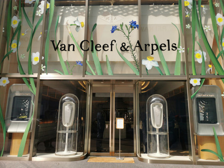 Collaboration with Atsunobu Katagiri in Display window of Van Cleef & Arpels Tokyo-Ginza Maison