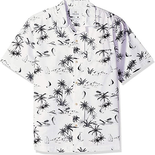 Marque Blanc GCHCR-28 Palms Relaxed-fit 100% Cotton Tropical Hawaiian Shirt Homm