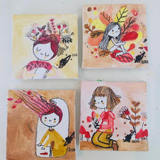 Autumn Set of 4 Canvases (small) - SOLD