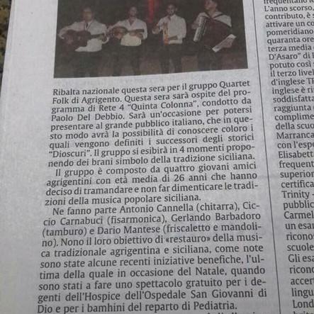 Quartet Folk  a Quinta Colonna