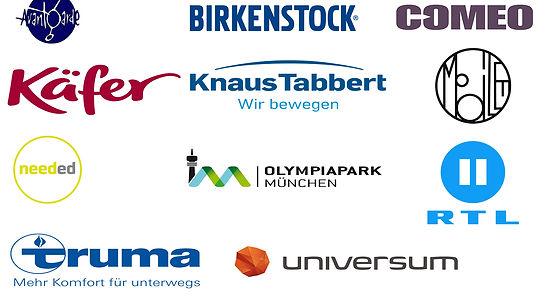 Logos Referenzen Peralta Pictures Avantgarde, Birkenstock, Comeo, Käfer,Knaus Tabbert, mobilee, needed, Olympiapark München, RTL2, Truma, Universum