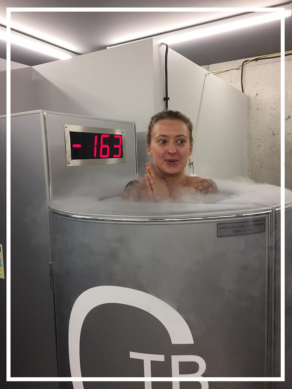 Während der Cryo Sauna