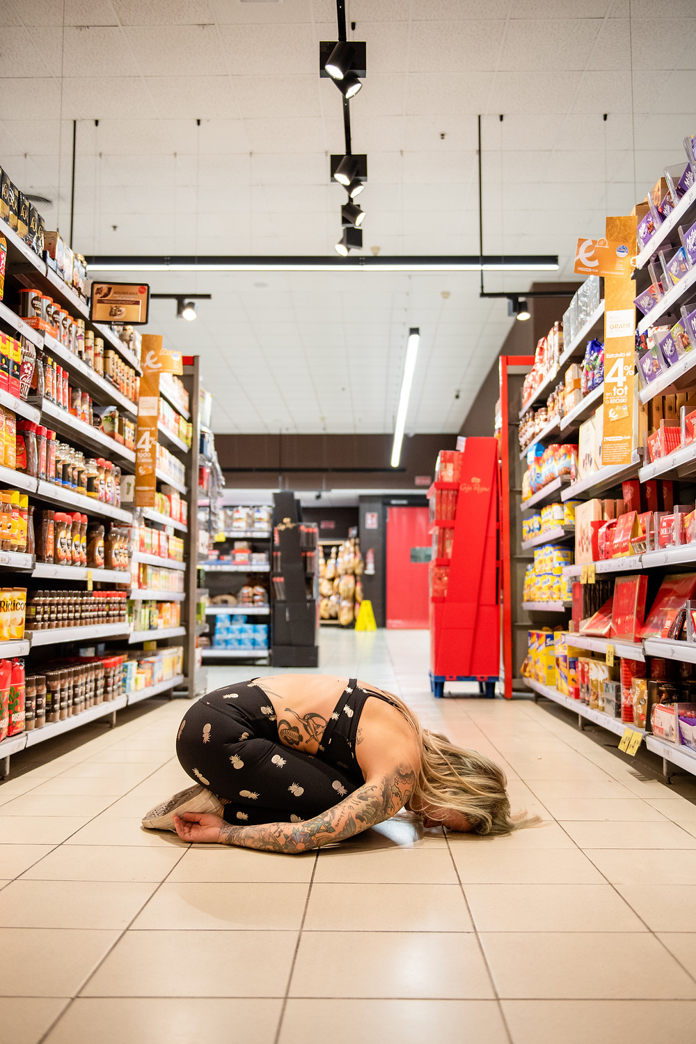 Child's pose at the supermarket