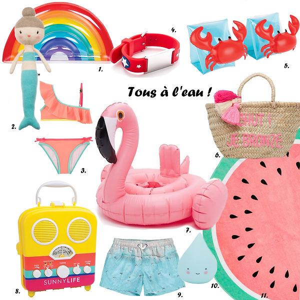 Shopping plage sirène et flamant rose accessoires kids