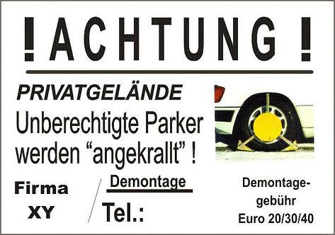 Hinweisschild gegen Falschparker - Demontage € 20