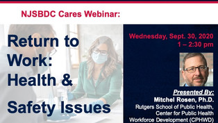 NJSBDC Cares Webinar: Return to Work – Health & Safety Issues