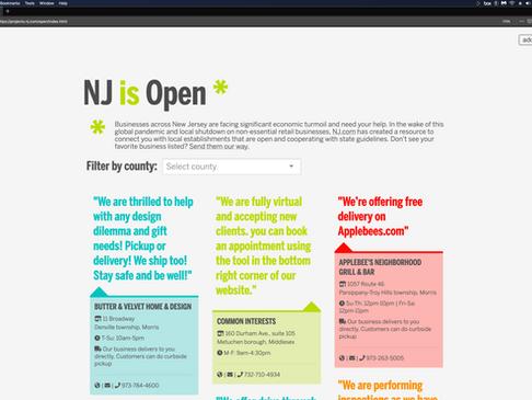 """NJ.com Business Resource: """"NJ is Open*"""""""