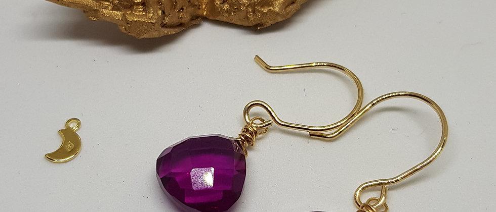 Fuchsia Quartz Heart Briolettes - Gold Filled