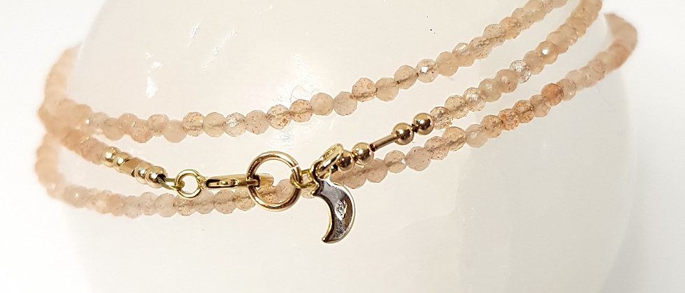 Sunstone Triple Wrap Bracelet - Gold Filled